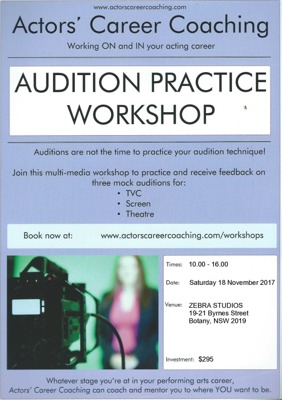 2017_11_18 Poster - AUDITION PRACTICE WORKSHOP