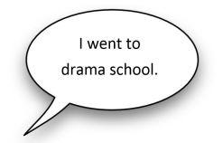 Speech bubble - I went to drama school